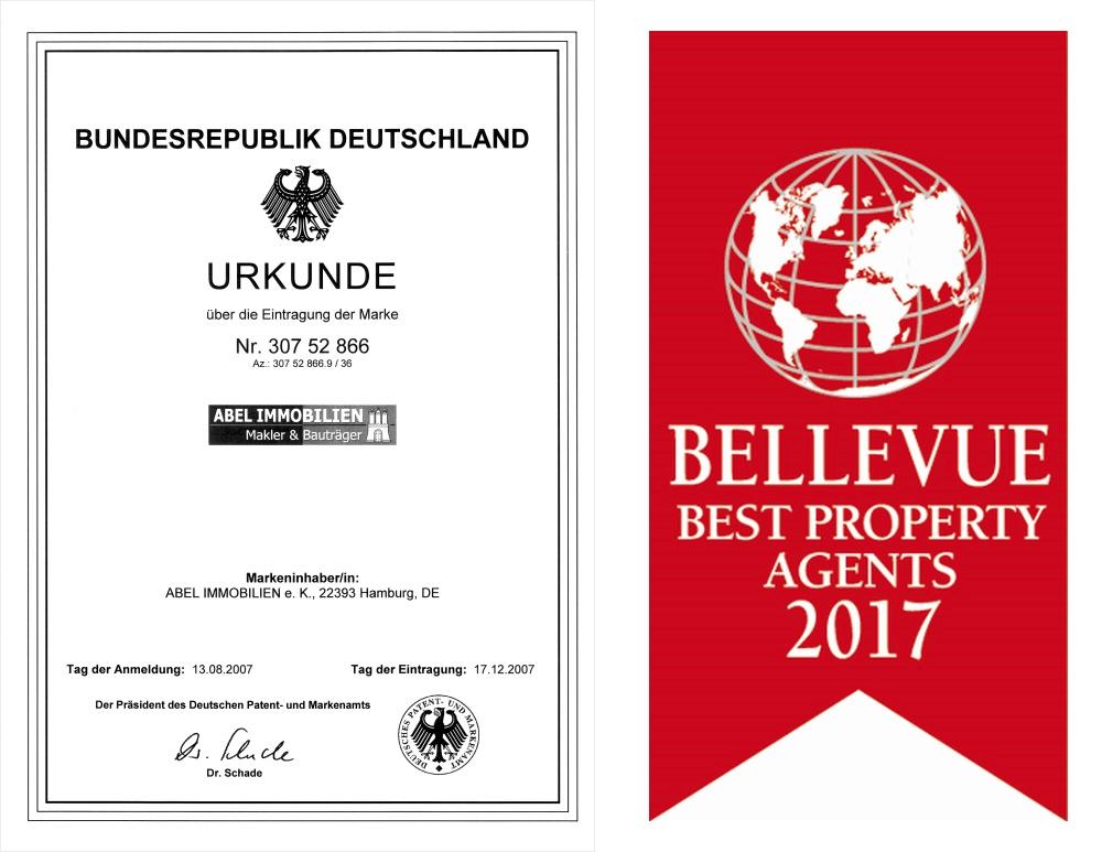 Urkunde Markeneintrag und Qualitätssiegel Best Property Agents 2017
