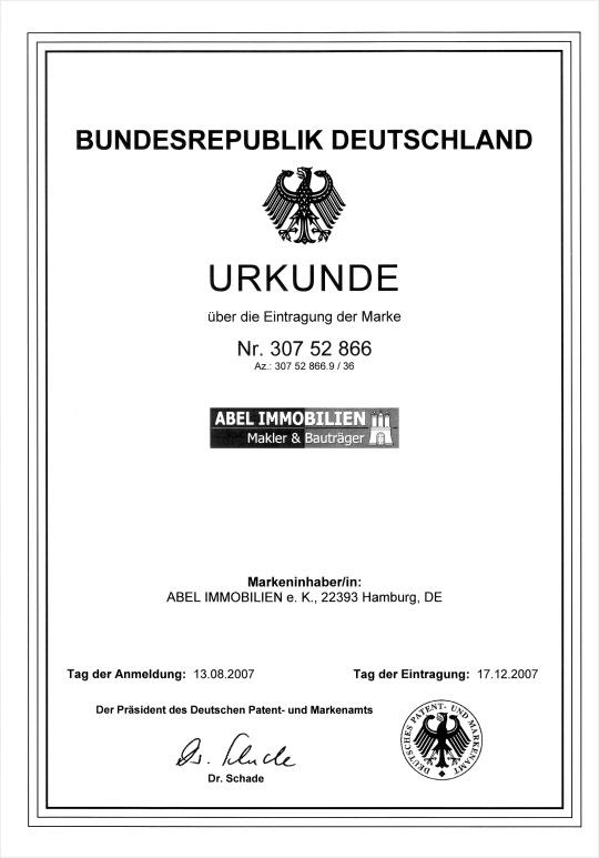 Markeneintragung Abel Immobilien Hamburg Patent- und Markenamt