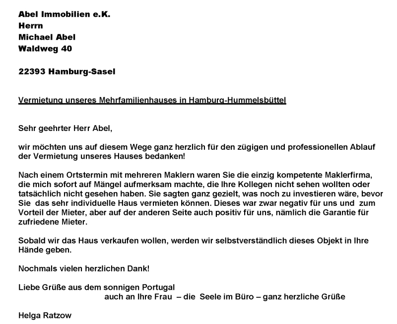 Hamburg-Hummelsbüttel: Vermietung eines Mehrfamilienhauses - ABEL ...