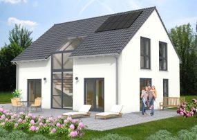 modernes Satteldachhaus mit verglastem Treppenhaus über beide Geschosse