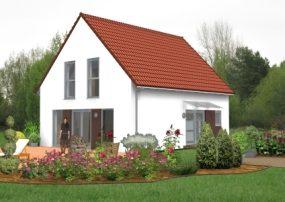 Einzelhaus mit Satteldach und Eingangsüberdachung aus Glas