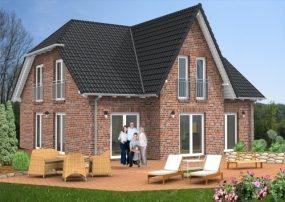 Haus mit Friesengiebel, sichtbaren Sparren, Klinkerfassade