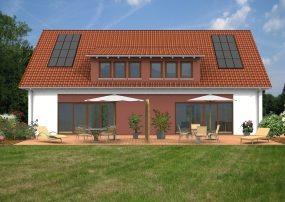 klassische Haushälfte mit Satteldach und Gauben