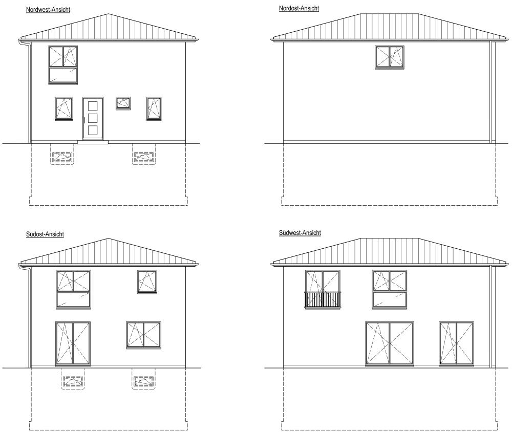 Einfamilienhaus, Ansichten, Stadthaus, Vollkeller, Walmdach